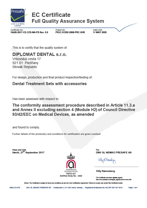Quality certificate – Diplomat